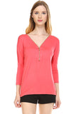Front Zipper Back Lace Top, Coral