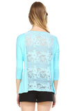 Front Zipper Back Lace Top, Angel Blue
