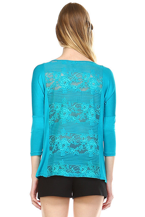 Front Zipper Back Lace Top, Teal