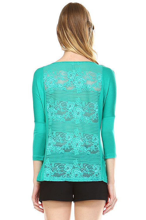 Front Zipper Back Lace Top, Emerald