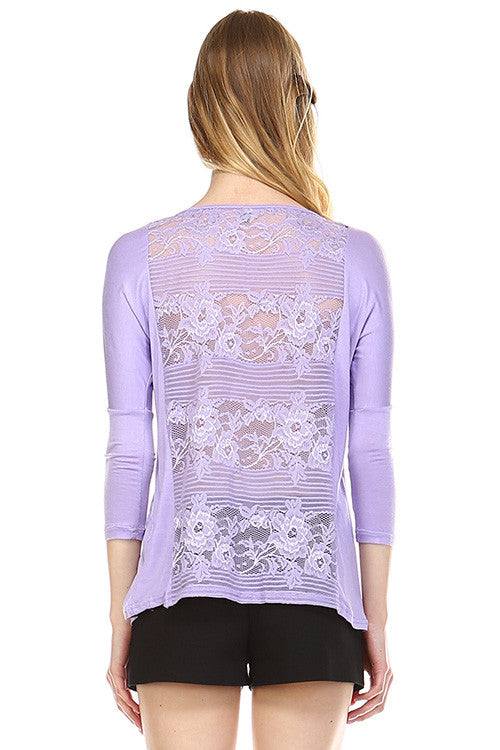 Front Zipper Back Lace Top, Lilac