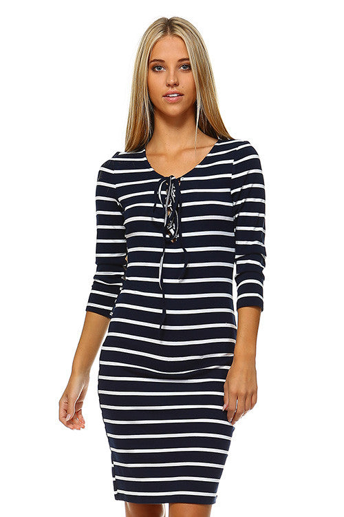Front Tie Striped Bodycon Dress