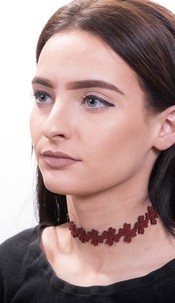 Floral Cutout Faux Suede Choker Necklace, Burgundy