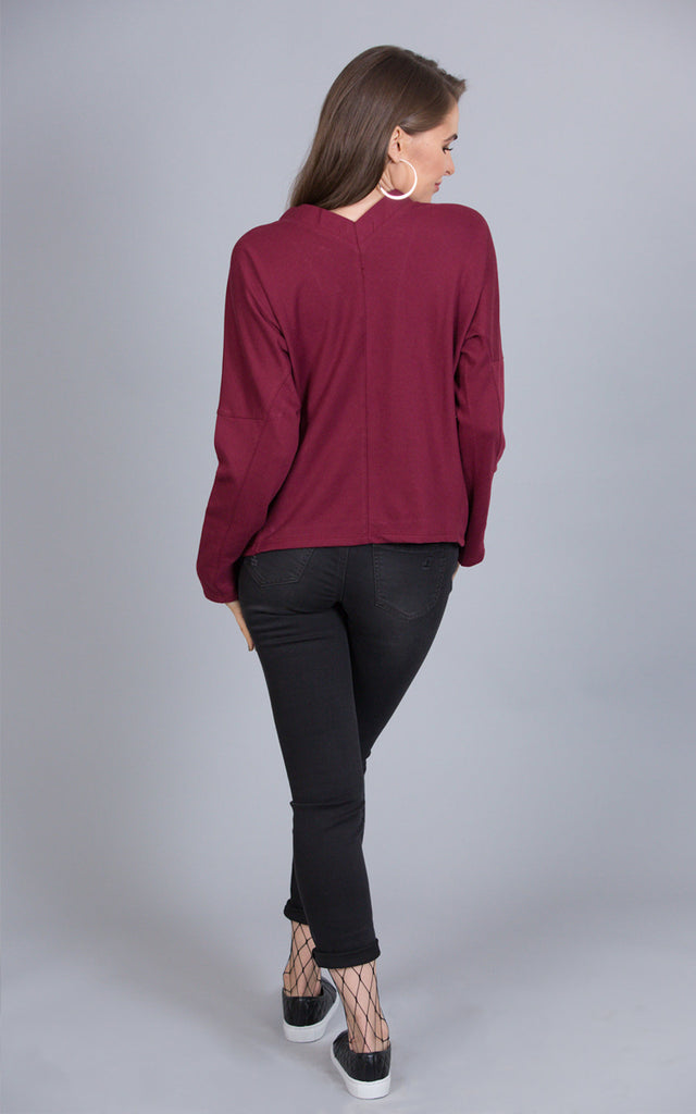 Plunge Into Comfort Lace Up Top, Burgundy