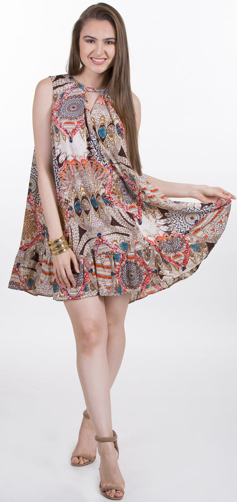 Sleeveless Print A Line Dress