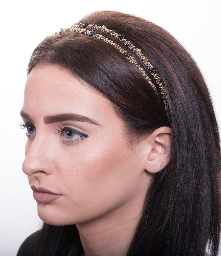 Intertwined Metallic Thread Headband, Black