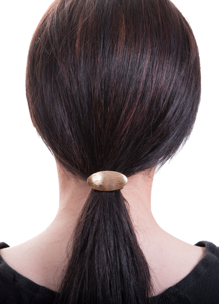 Oval Convex Metal Hair Tie, Gold