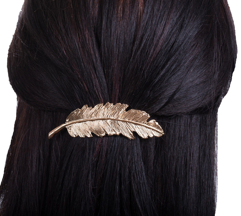 Large Fancy Feather Barrette, Gold