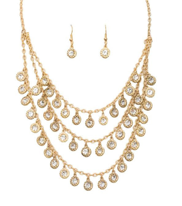 Gold Layered Necklace & Earring Set