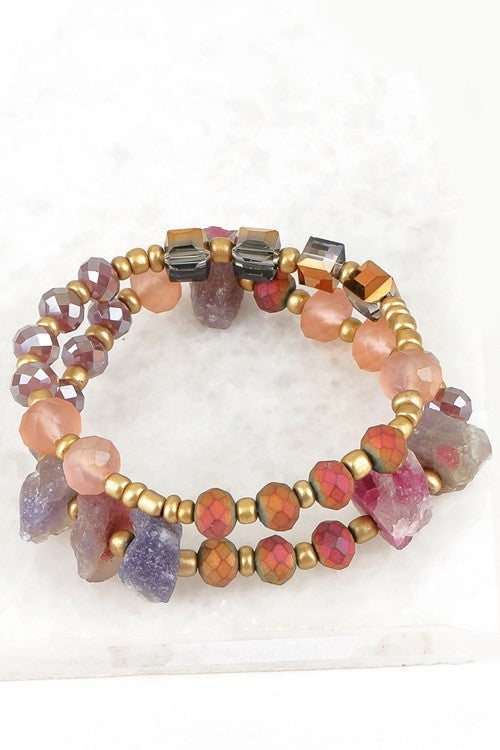 Natural Stone & Crystal Bead Bracelet Set, Pink