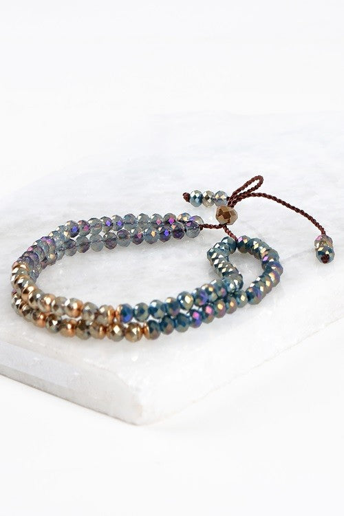 Mixed Crystal Bracelet, Blue/Teal