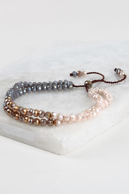 Mixed Crystal Bracelet, Grey/Nude