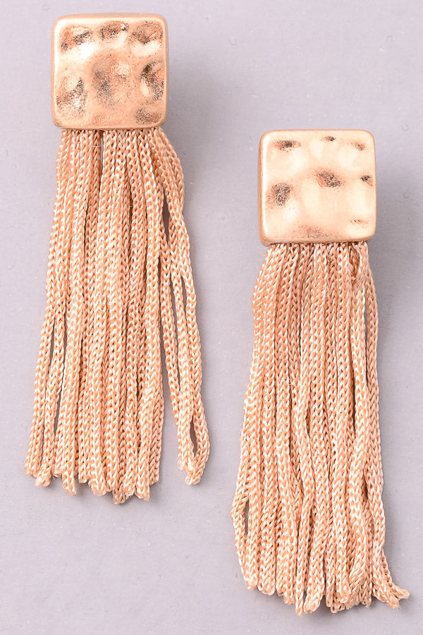 Dimpled Cord Fringe Earrings, Beige