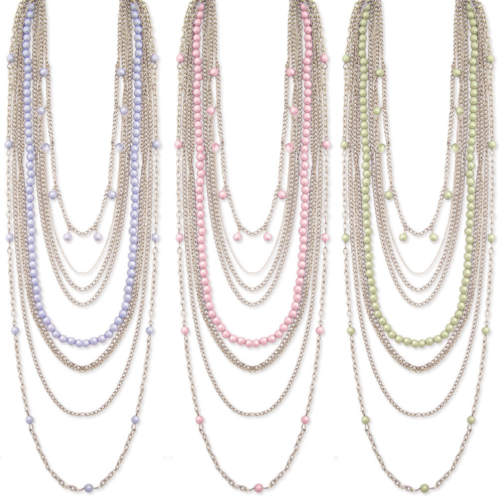 Nine Line Faux Pearl Necklace, Pink