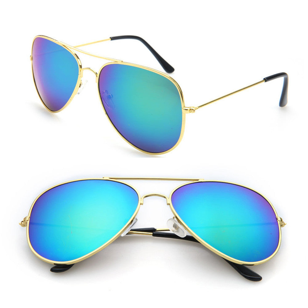 Mirrored Aviator Sunglasses, Blue Iridescent
