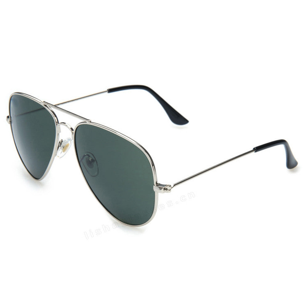 Mirrored Aviator Sunglasses, Black & Silver