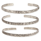Silver Set Of 3 Embossed Cuff Bracelets