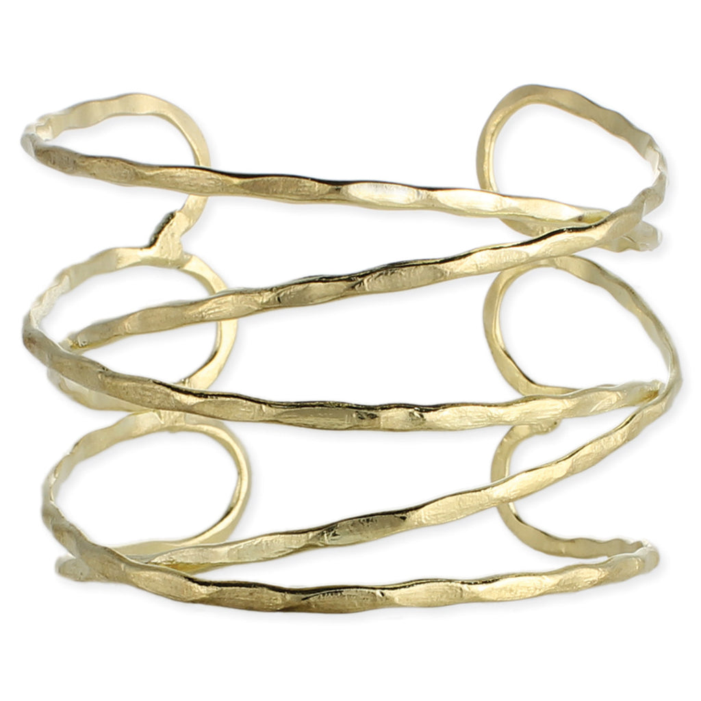Gold Hammered Overlapping Lines Cuff Bracelet