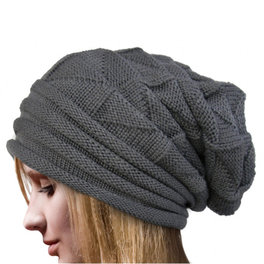 Warm Wool Knit Beanie, Gray