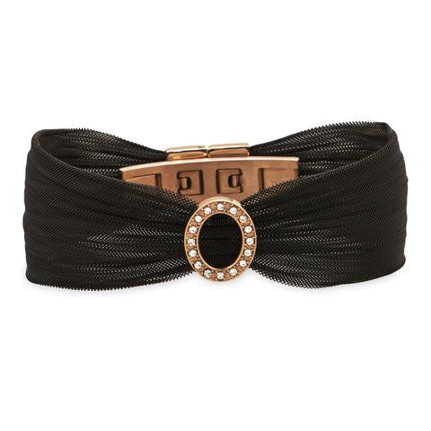 Black & Rose Gold Mesh Bracelet With Open Crystal Oval