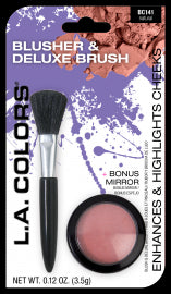Blusher & Deluxe Brush Set by LA Colors Available in Natural or Blushing Pink