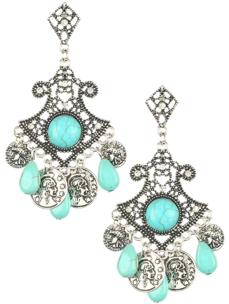 Bohemian Style Turquoise Dangle Earrings, Silver