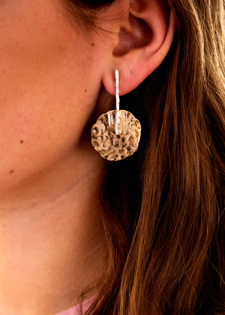 Hammered Disc Earrings, Gold