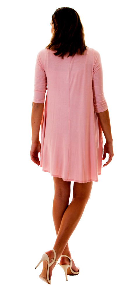 Solid Pocket Knit Dress, Dusty Pink