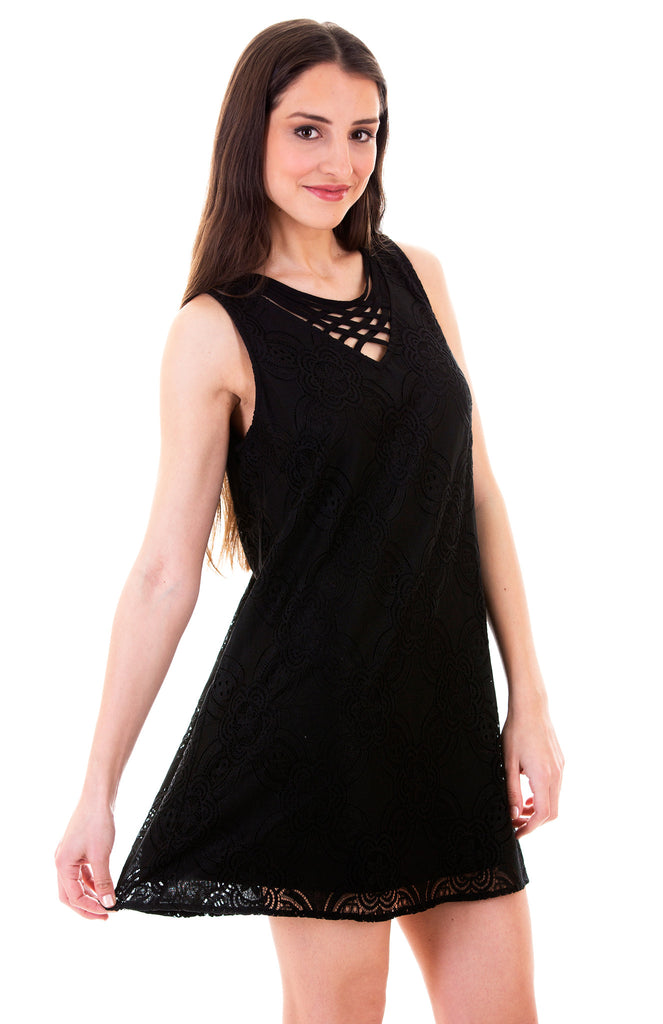 Darling Lace Shift Dress, Black