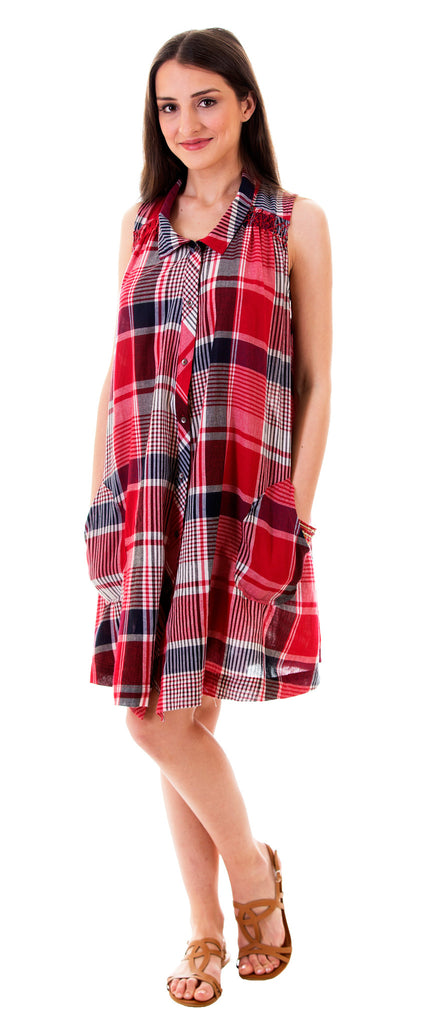 Plaid Pocket Loose Fit Shirt Dress, Red