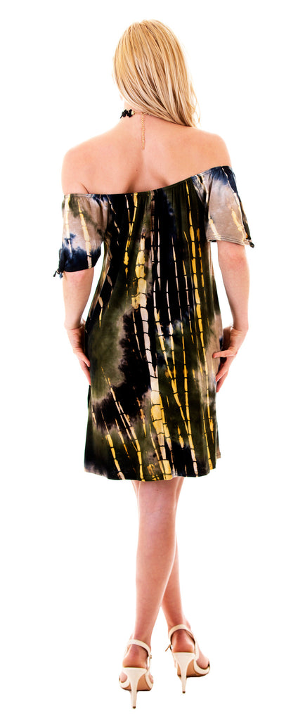 Off Shoulder Tie Dye Dress Olive/Yellow
