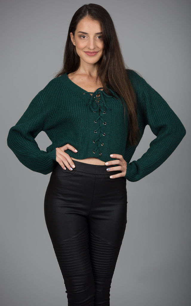 Front Lace Up Sweater, Hunter Green