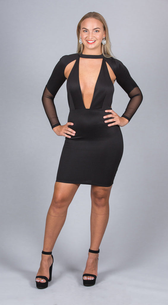 Choker Neck Bodycon Dress, Black