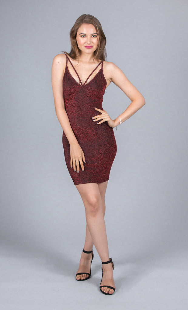 Glitter Finish Bodycon Dress, Burgundy