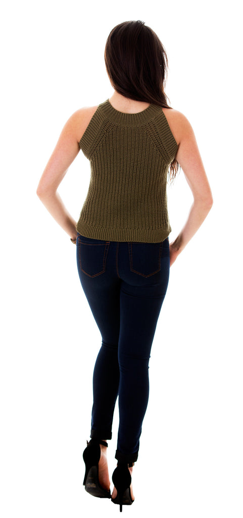 Sleeveless Open Knit Top, Olive
