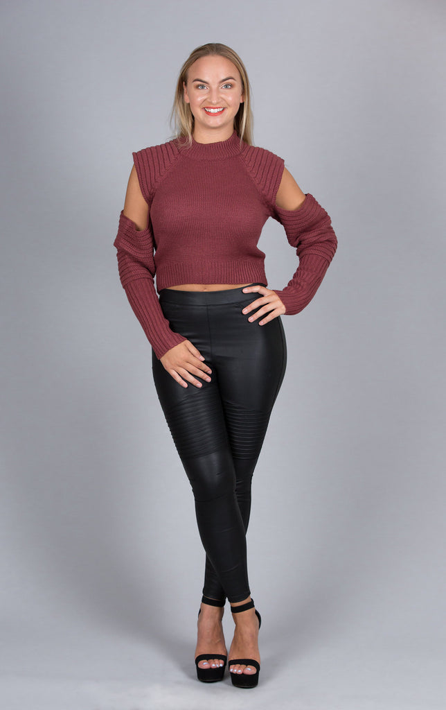 Warm Pullover With Arm Cutouts, Burgundy