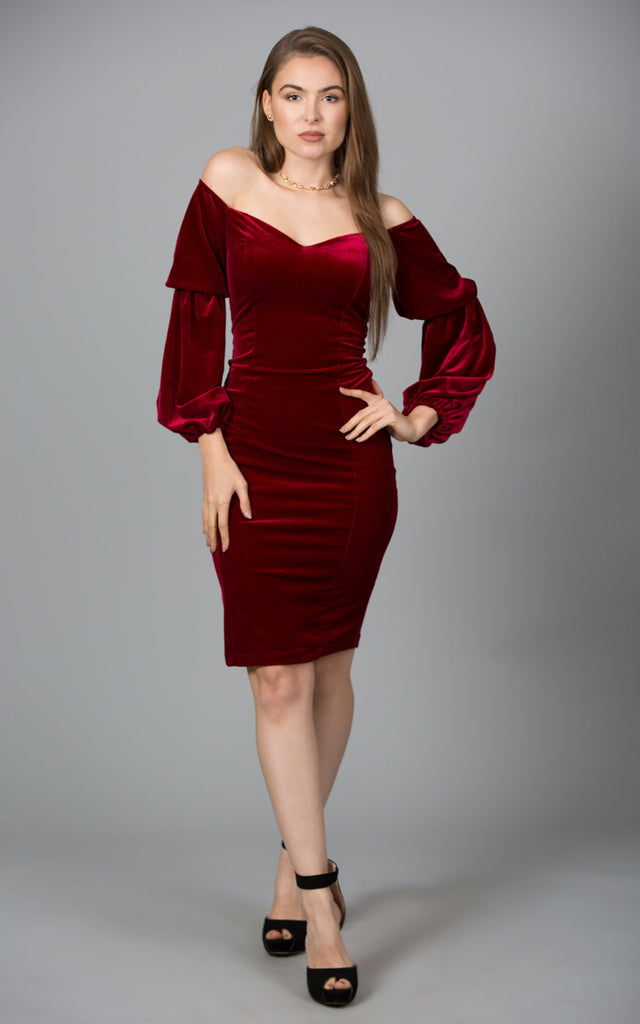 9ca61ab29827 Velvet Sweetheart Long Sleeve Dress  Velvet Sweetheart Long Sleeve Dress ...