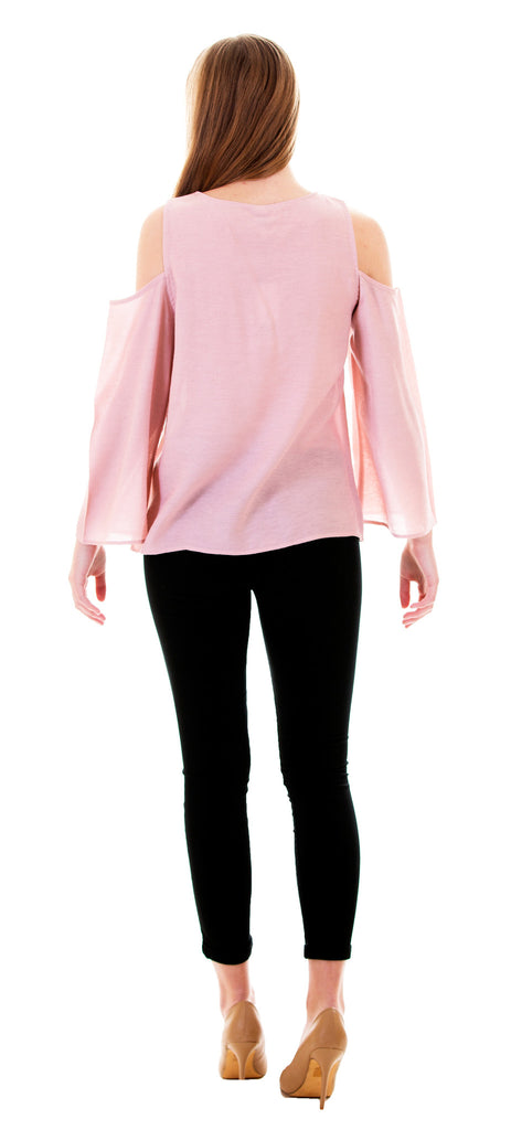 Cold Shoulder Top With Embroidery, Dusty Pink