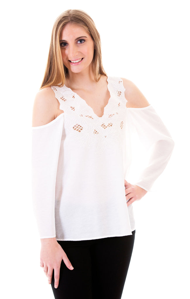 Cold Shoulder Top With Embroidery, Off White