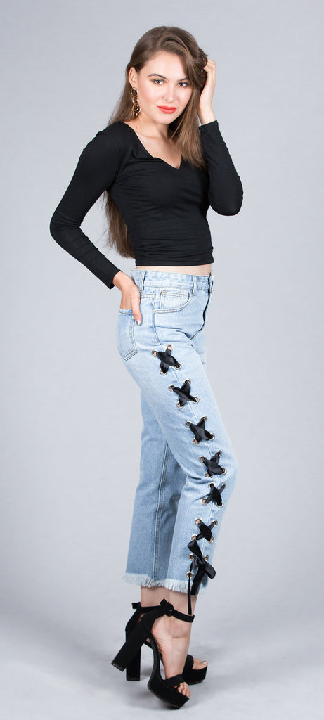 Satin Lace Up Side Denim Jeans (Wear with or without ribbon)