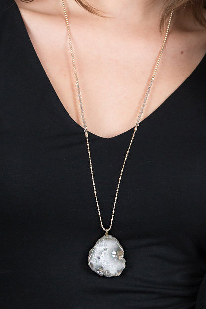 Crystal Stone Pendant Necklace, Grey