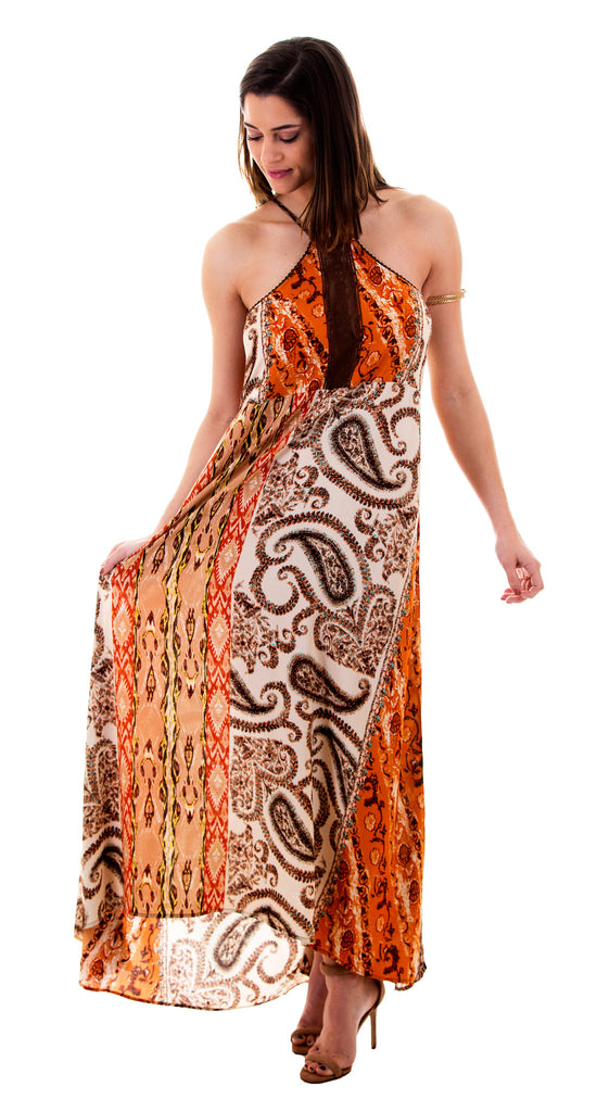 Paisley Print Long Maxi Dress
