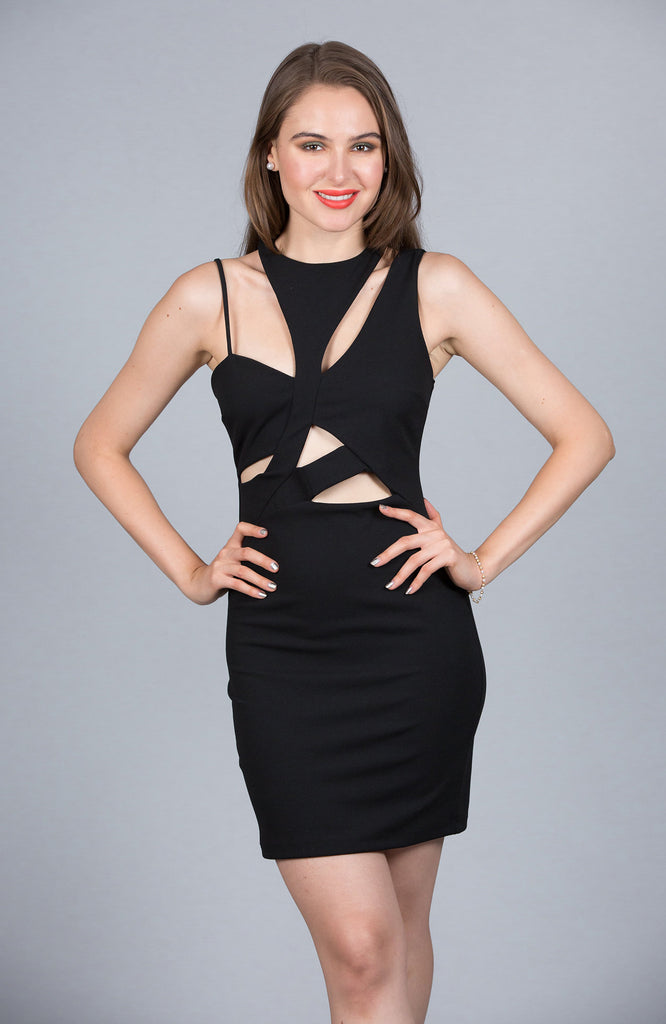Geometric Cutout Bodycon Dress, Black