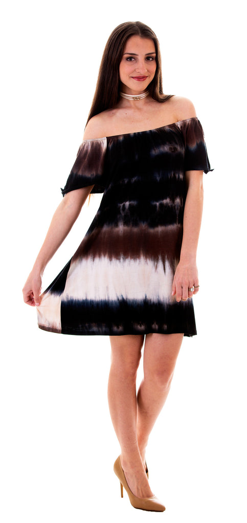 Off Shoulder Tie Dye Dress Brown/Blue