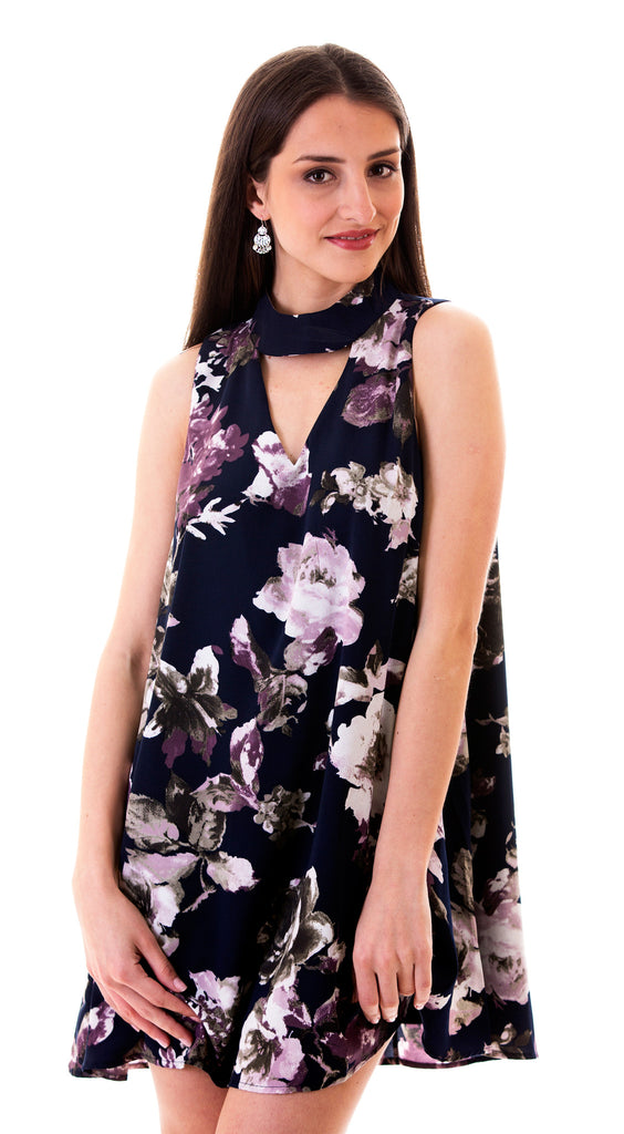 Cutout Neck Floral Dress