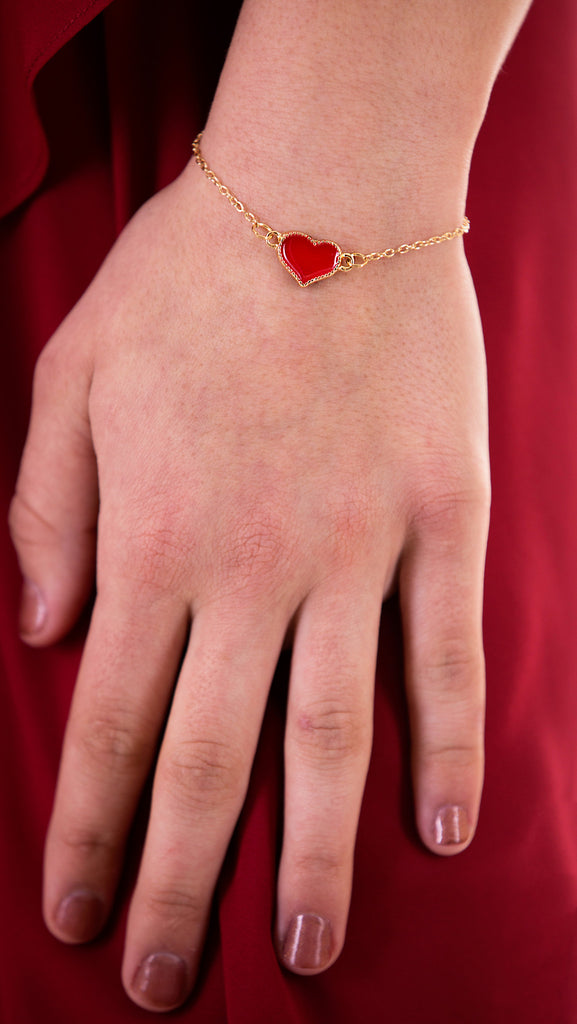 Delicate Gold Heart Bracelet, Red