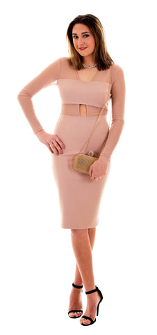 Scalloped Lace Bodycon Dress, Light Taupe