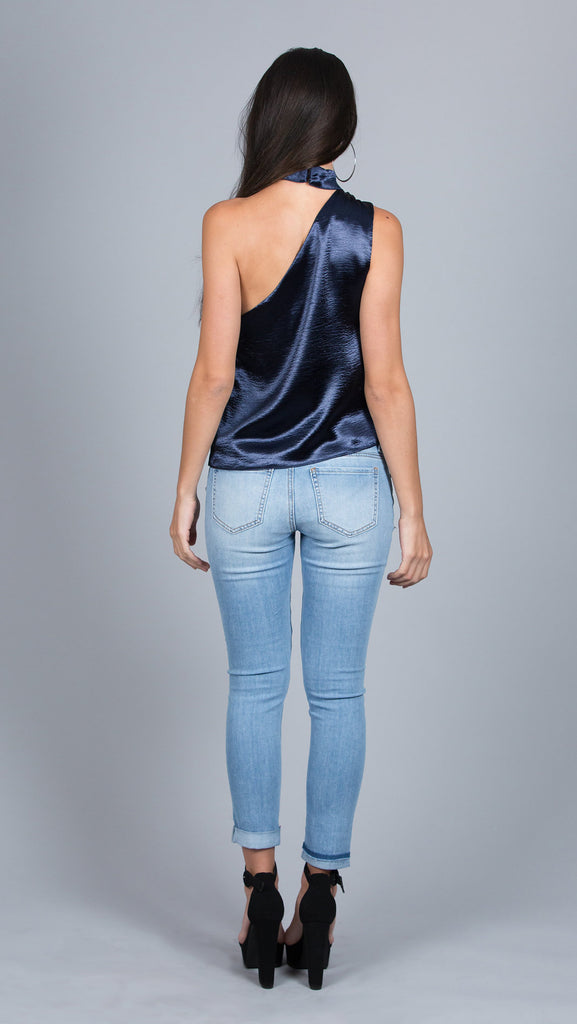 Satin Choker Tank Top, Navy