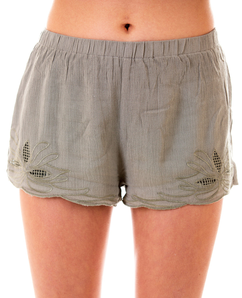 Linen Shorts With Embroidered Lace Detail, Olive