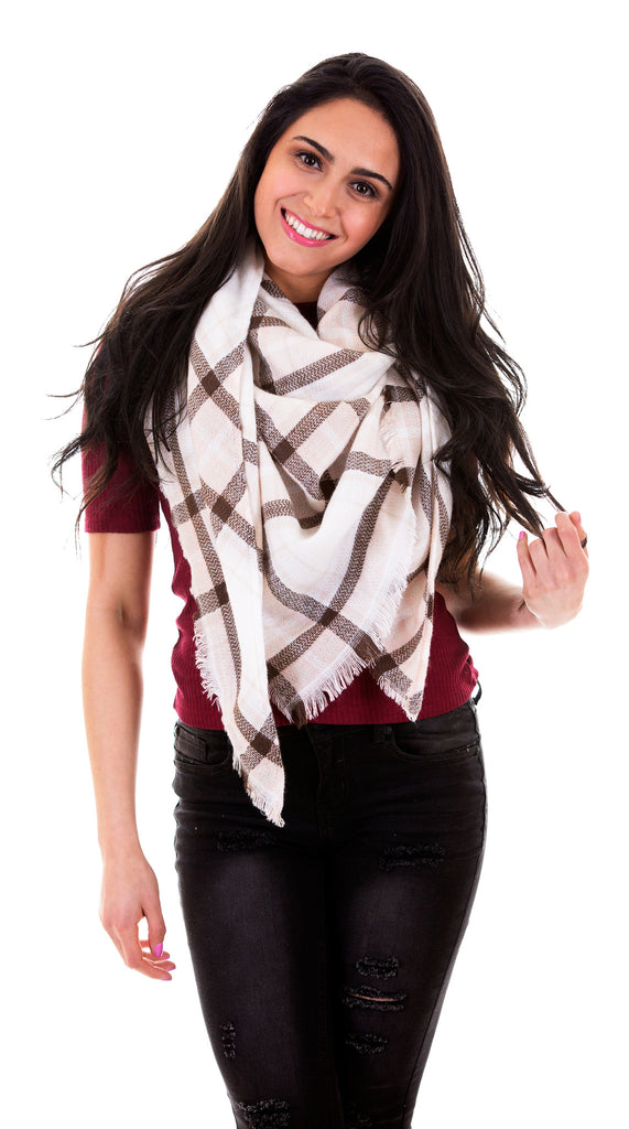 Triangle Scarf Pashmina With Fringe, Pink/Brown